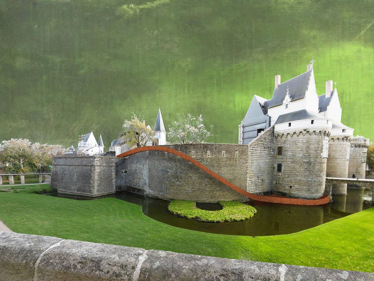 paysage glissé, toboggan géant de Tangui Robert, voyage à Nantes, Château des Ducs de Bretagne