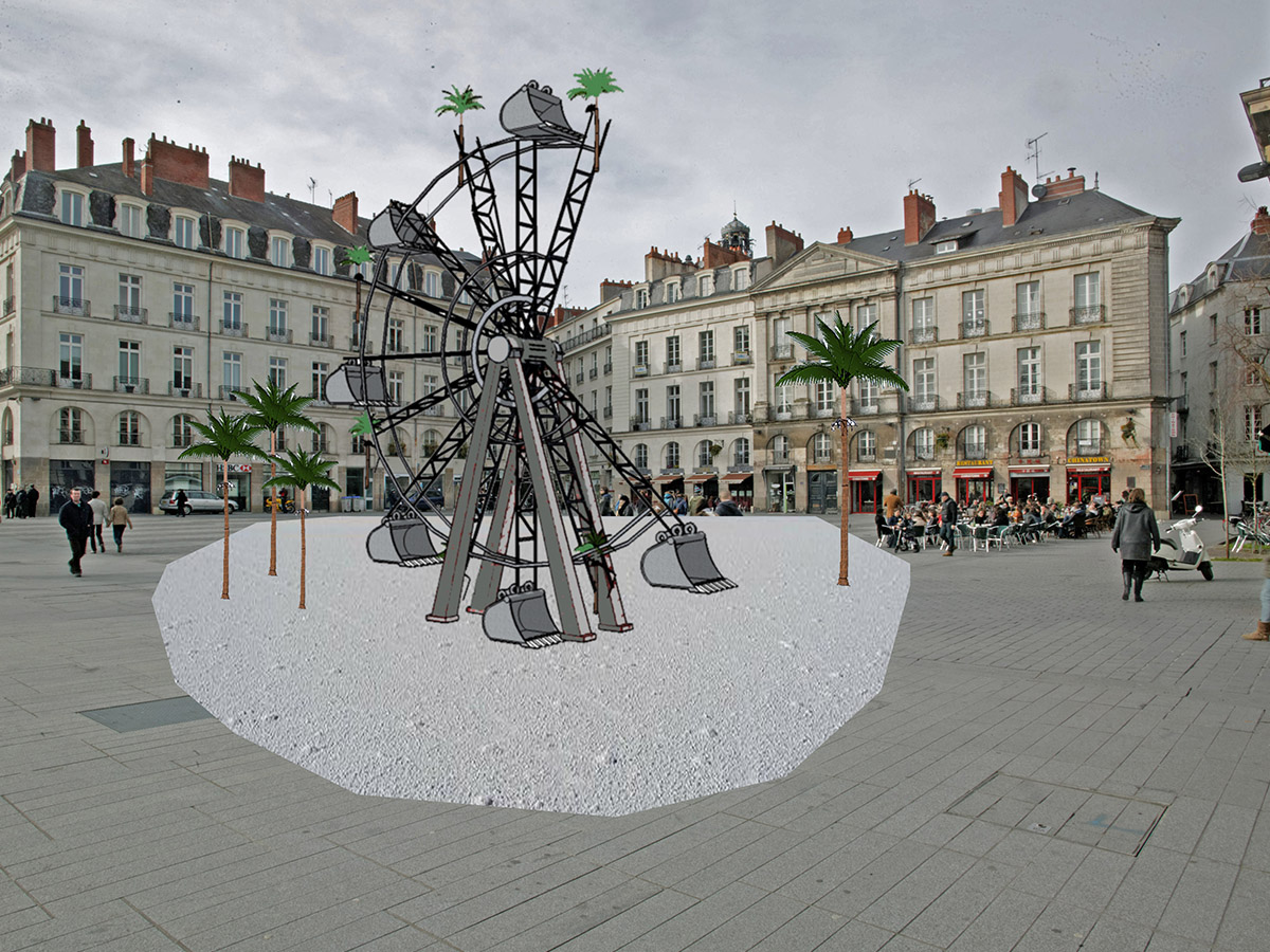 la part manquante, installation Place du Bouffay, Voyage à Nantes. Oeuvre de Boris Chouvellon