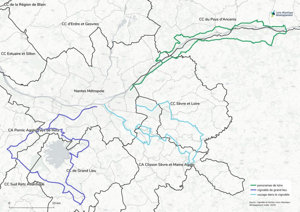 Carte des routes des vins du Muscadet en Loire-Atlantique